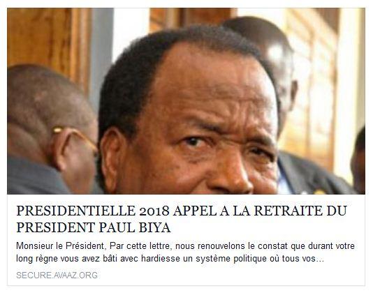 Appels à la retraire du président Biya - Crédit photo: le compte facebook d'Abel Elimbi Lobe